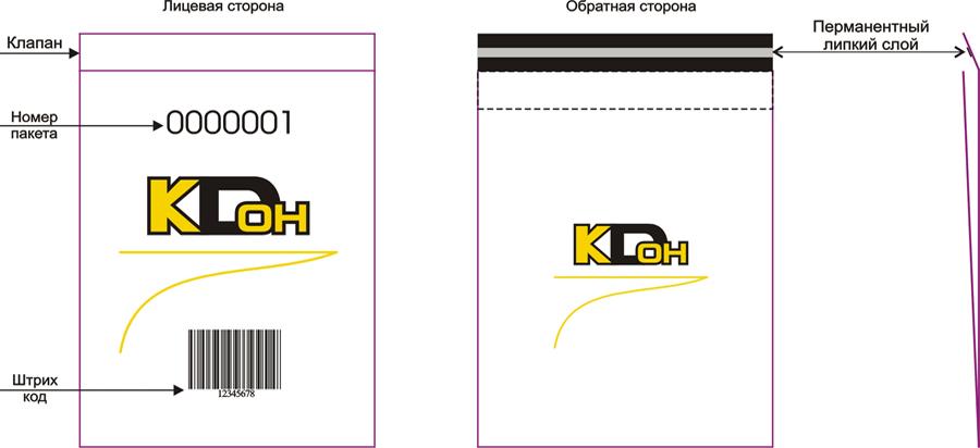 Курьерский пакет с индивидуальной нумерацией и карманом для сопроводительной документации